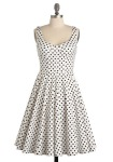 The Ginger Dress in Black and White Polka Dots